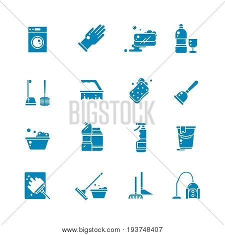 Cleaning products and services silhouette vector icons. Washing supplies and housework black symbols. Detergent and soap, glove and sponge illustration