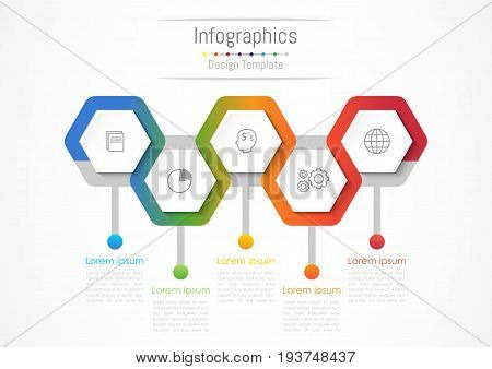 Infographic design elements for your business with 5 options parts steps or processes Vector Illustration.