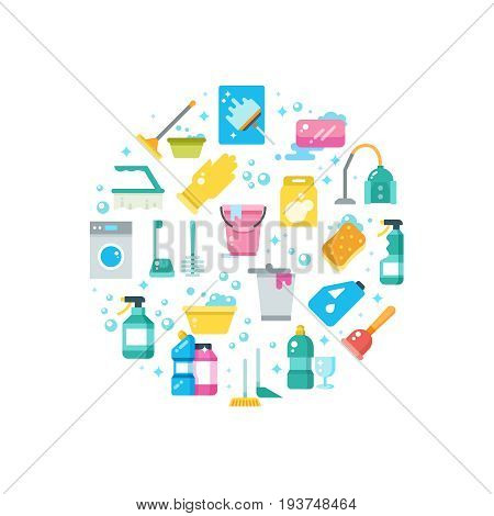 Clean house concept with cleaning and washing tools vector icons. Housekeeping equipment, washing and cleaning illustration