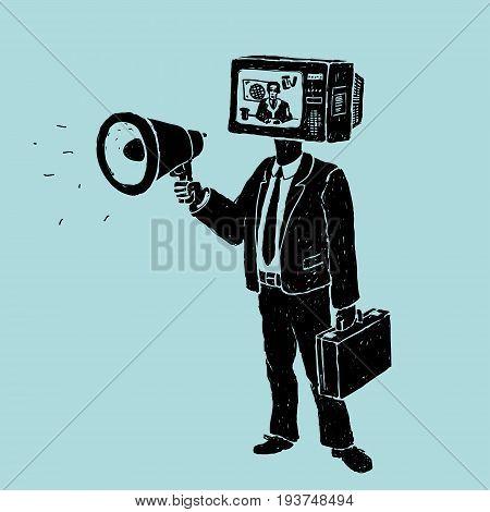 Propaganda by TV and Loudspeaker Vector Illustration