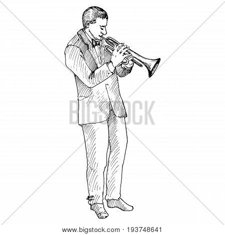 Sketch of man playing trumpet, trumpeter, hand drawn vector illustration