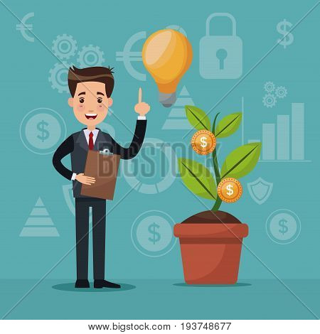 color background analytics investment with businessman and growth economy vector illustration
