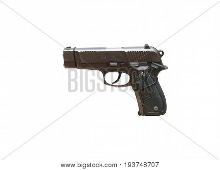 Wroclaw, Poland - July 4, 2017: Close Up On Mag 95  Handgun Isolated On White