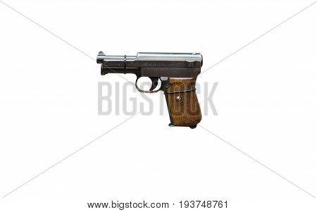 Wroclaw, Poland - July 4, 2017: Close Up On Mauser 1914  Handgun Isolated On White