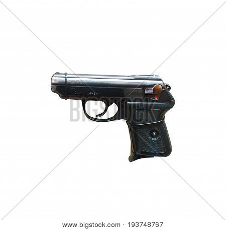 Wroclaw, Poland - July 4, 2017: Close Up On P64  Handgun Isolated On White