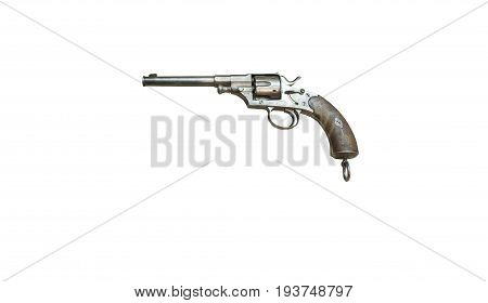Wroclaw, Poland - July 4, 2017: Close Up On Reichsrevolver 1879  Handgun Isolated On White