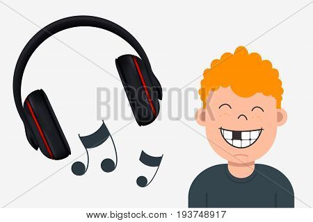 Joyful Boy With Missing Tooth Listening To Music. Headphone And Musical Notes