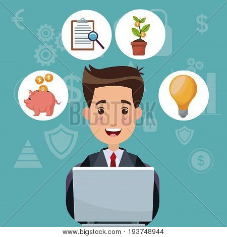 color background analytics investment with bussiness man work in laptop and bubbles icons economy vector illustration