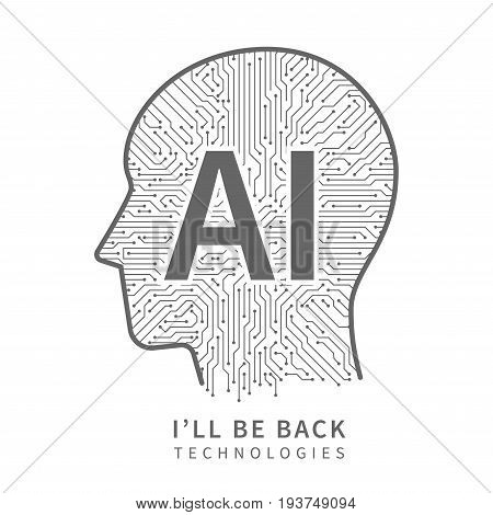 Science technology vector background. Artificial intelligence engineering concept with cyborg head. Electronic ai head human, illustration of circuit board technology