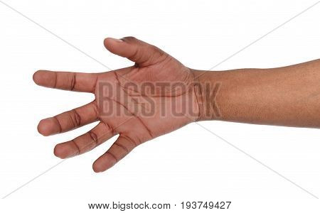Taking black hand isolated on white background. African american palm holding mobile phone, ban, glass or other, copy space