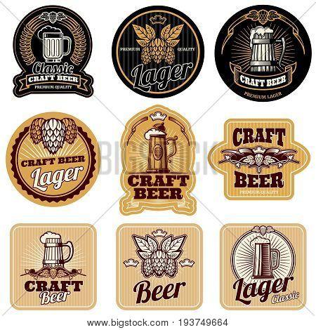 Vintage beer bottle vector labels. Alcohol drink label, illustration of bottle beer labels