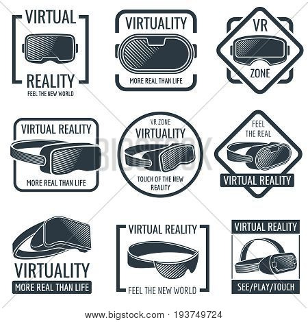 Futuristic helmet virtual reality headset logos. Vr glasses head-mounted display vector labels. Device for reality virtual, illustration of head helmet