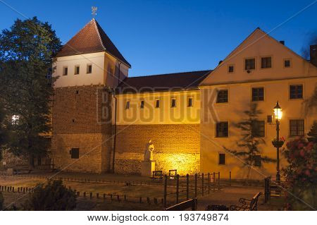 Poland Upper Silesia Gliwice Piast Castle part of municipal museum at dusk wind-swept tree branches