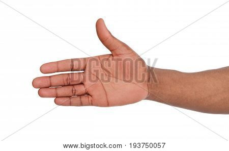 Hand ready for handshake isolated on white background. African american man inviting by open palm, greeting concept