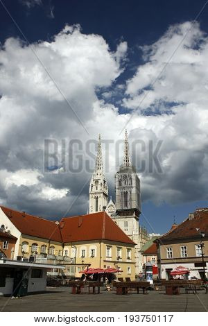 view on Cathedral from open food market Dolac on Kaptol hill Zagreb, Croatia
