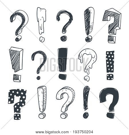 Grunge doodle sketch exclamation and question marks vector set. Collection of question mark and exclamation marks illustration