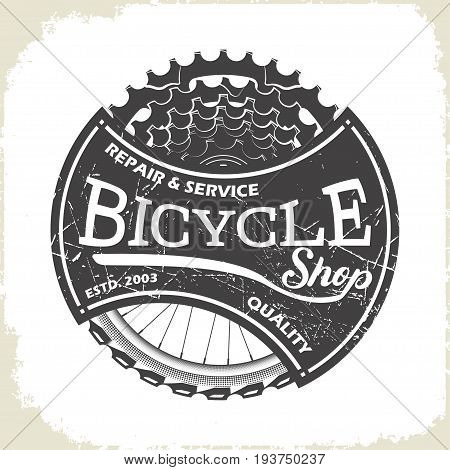 Bicycle service shop logo, monochrome style, vector