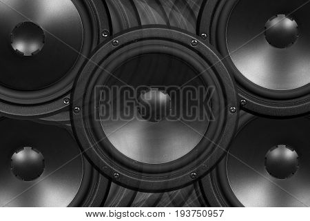 Techno background - low-frequency loudspeakers closeup .