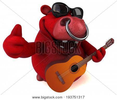 Fun red bull - 3D Illustration