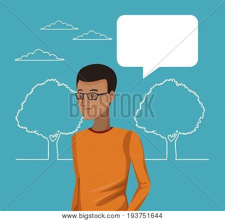 blue scene with silhouette landscape and colorful half body brunette boy student with dialog box vector illustration