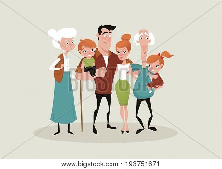 Big happy family picture vector illustration cute style