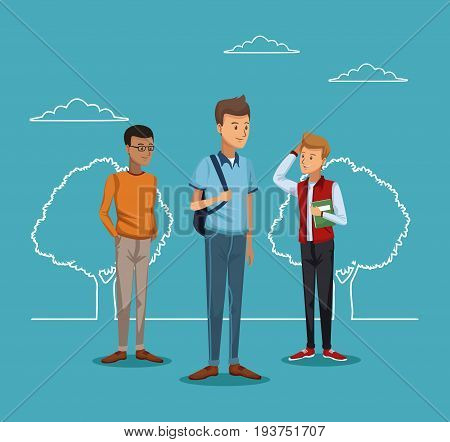 blue scene with silhouette landscape and colorful full body group men student vector illustration