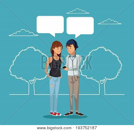 blue scene with silhouette landscape and colorful pair student standing with dialog boxes vector illustration