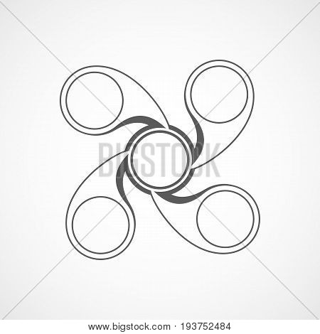 Hand spinner icon isolated on light background. Hand spinner toy. Vector illustration. Spinner stress relieving toy.