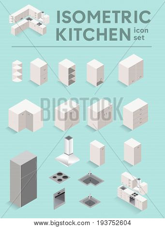 Vector isometric kitchen set. White kitchen furniture icons. 3D Flat kitchen furniture and major kitchen appliances.