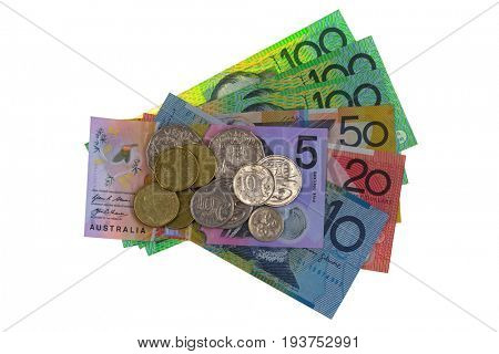 Australian dollar coins and different banknote (AUD) 5 10 20 50 100 isolated on white background