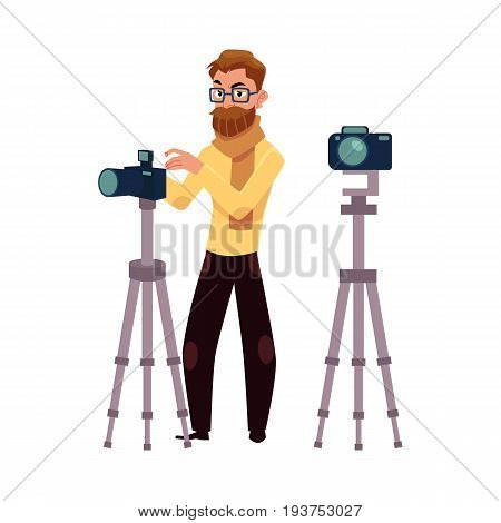 Photographer taking pictures, shooting in studio, using digital camera and tripod, cartoon vector illustration on white background. Full length portrait of professional photographer working in studio