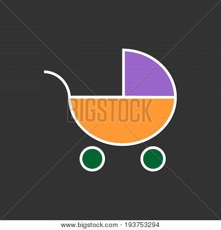Pram icon. Flat Web line icon on black background . Baby carriage, eps 10