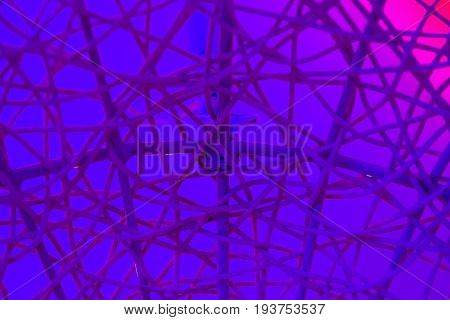 Texture Of Plastic Rattan Straw Chair On Color Background
