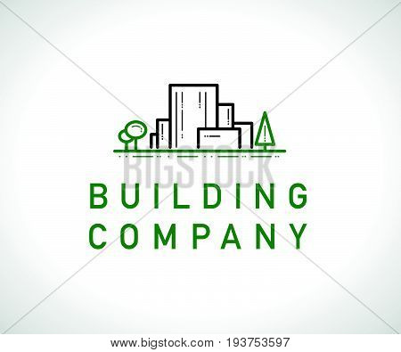 Vector flat construction company brand design template. Building eco company and architect bureau insignia, logo illustration with city buildings and trees isolated on white background. Line art.