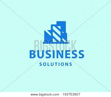 Vector flat abstract construction company brand design blue template. Building urban company and architect bureau insignia, logo illustration isolated on white background.