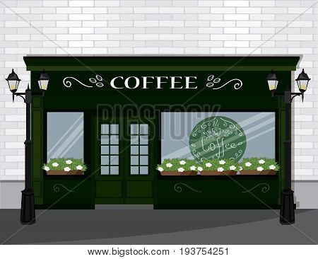 Vector illustration street cafe building facade. Small cafe front.