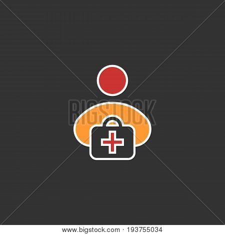 first aid kit flat icon. Vector on black background, eps 10