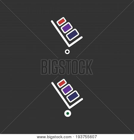 Handcart vector icon. Handcart isolated on black background. Delivery line vector icon for websites and mobile minimalistic flat design.