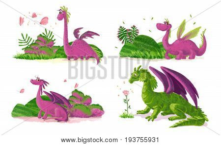 Hand drawn artistic funny dinosaur portraits with nature elements isolated on white background. Friendly animal character design. Children book illustration.