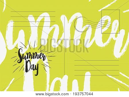 Summer Day Greeting Card. Flat Vector Illustration Eps 10