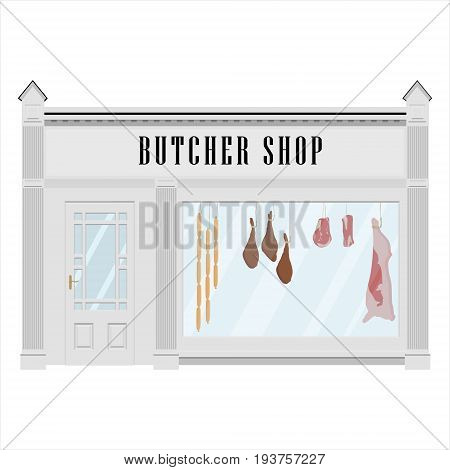 Vector illustration butcher shop facade icon. Sausages beef carcass and steak. Butchery