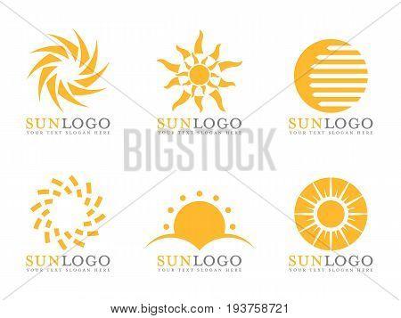 Orange Sun logo vector art set design
