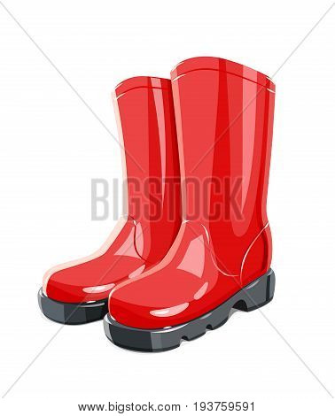 Rubber Garden boots. Protection shoes. Working uniform. Waterproof footwear. Isolated white background. Vector illustration.
