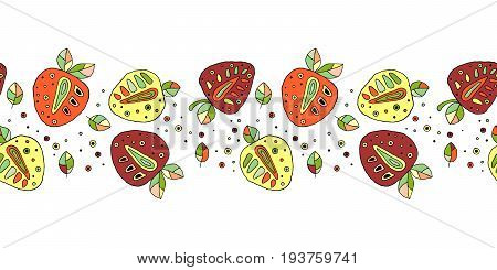 Seamless Vector Hand Drawn Childish Pattern, Border, With Fruits. Cute Childlike Strawberries With L