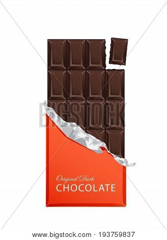 Dark candy chocolate bars in vintage bar wrappers with foil. Vector illustration