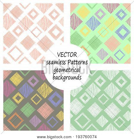 Set Of Seamless Vector Geometrical Patterns With Geometric Figures, Forms. Pastel Endless Background