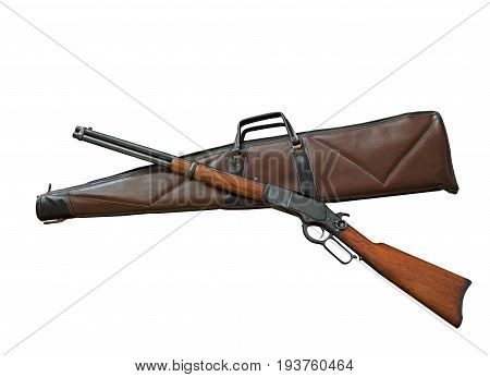 Closeup Antique Rifle with Bag Isolated on White Background Clipping Path