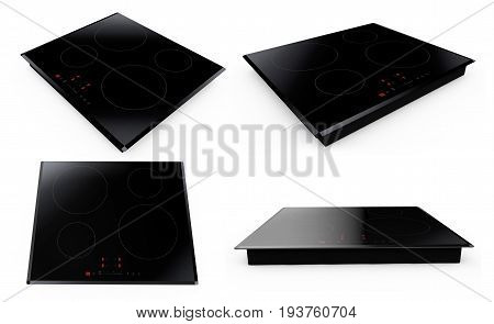 Induction cooktop on white background 3d render set