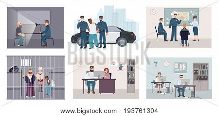 Different situations in police station. Colorful set featuring police work arrest, interrogation, identikit, meeting, investigation. Flat illustration vector collection.