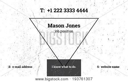 Trendy business card template with grunge texture. Scratch and rough dust. Fashionable inverted triangle. Black, gray and white colors. US standard size 3.5x2 in. Withe bleed size 0.125 in. Vector.